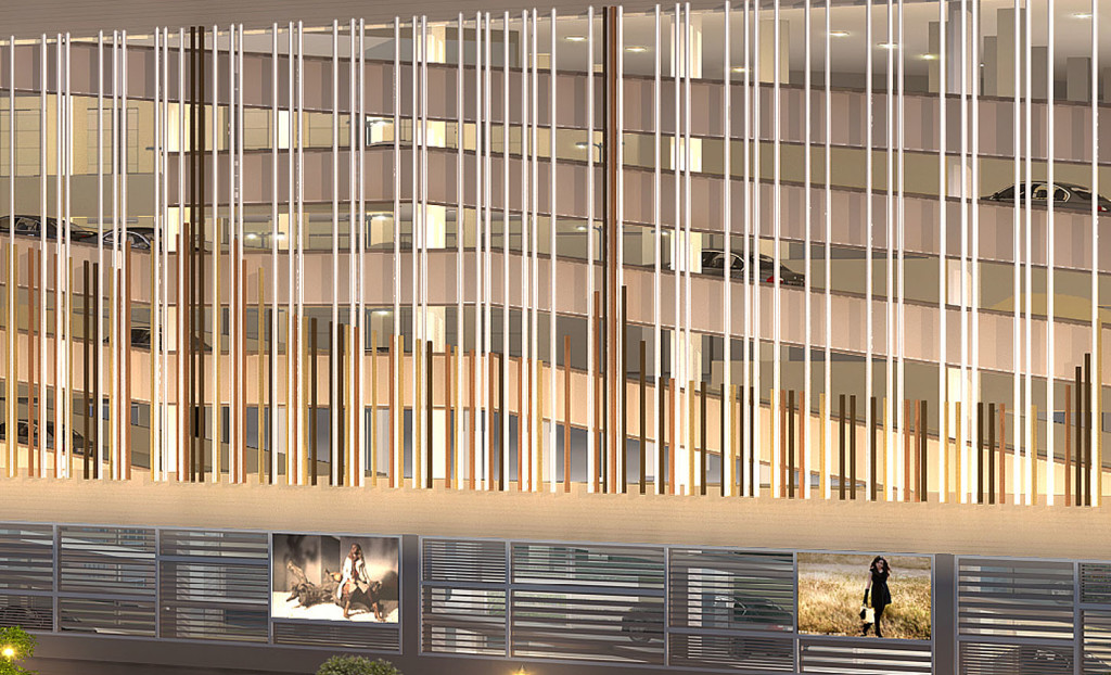 Detail of an artist's rendering of The SoNo Collection from Oyster Shell Park, at night.