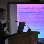 Norwalk Public Schools Chief Financial Officer Thomas Hamilton explains the 2016-17 operating budget at Tuesday's Board of Education meeting in City Hall.