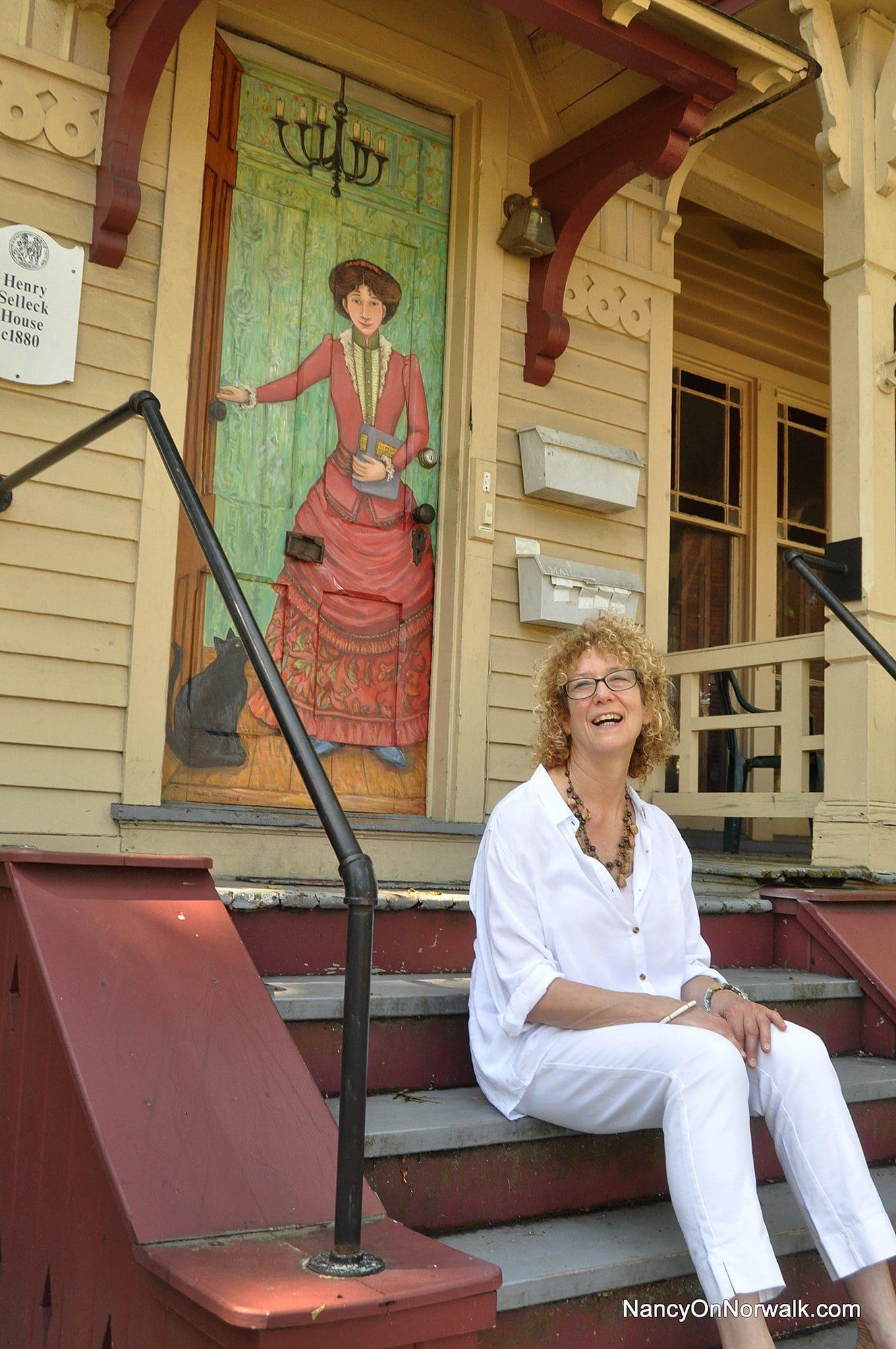 Bridgeport artist Elizabeth Hartstein sits on the step at 7 Berkeley St. in front of  sc 1 st  Nancy on Norwalk & Collins looks to start a trend on Berkeley Street | Nancy on Norwalk