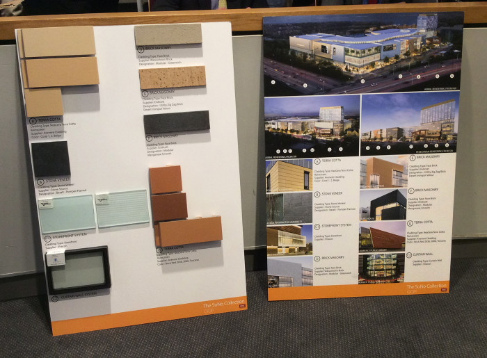 Materials planned for The SoNo Collection, as shown to the Redevelopment Agency last week.