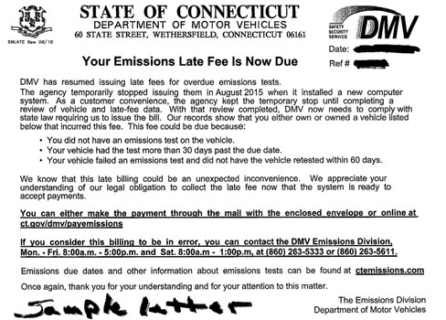 DMV will start sending out late fee notices for overdue emissions