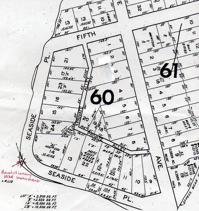 A map of Seaside Place appears to show that a Revolutionary War monument there is on public property.