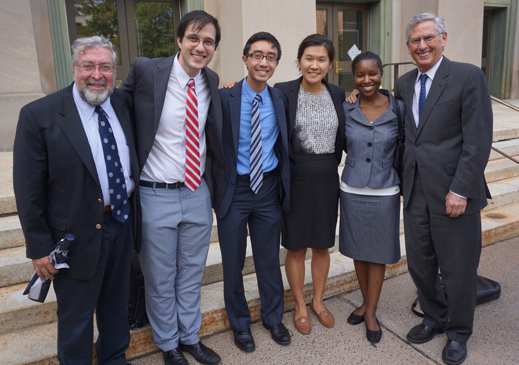 The Yale Law School CCJEF team: former Norwalk Mayor Alex Knopp at left, Attorney David Rosen at right, and current or former students on the case in the middle, according to  Knopp. (Contributed photo)