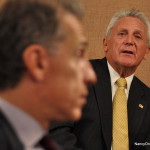 Mayor Harry Rilling answers a question Thursday at his Mayor's Night Out in City Hall.