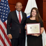 US Secretary of Transportation Anthony Foxx and Kaitlin Latham, Mayor's Challenge coordinator and Health Education Associate at the Norwalk Health Department, who accepted the Mayor's Challenge Award for the City of Norwalk. Photo courtesy of US Department of Transportation.