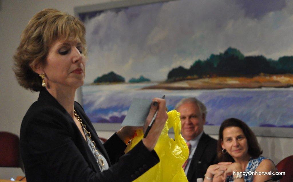 Norwalk Public Schools Chief of Specialized Learning and Student Services Lynn Toper checks to see which parent made it onto the Special Education Parent Advisory Council last week, after asking a Board of Education member to draw a name from a bag.