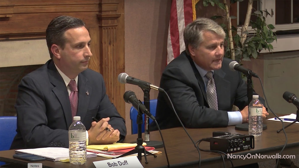 State Sen. Bob Duff (D-25), left, and Republican candidate for State Senate Greg Ehlers debate Thursday in Norwalk City Hall.