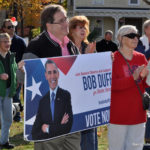 Norwalk Democrats attend a rally Saturday in Union Park.