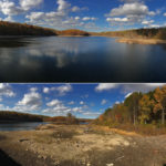 The First Taxing District's Milne Reservoir in New Canaan, full at top and depleted on Nov. 1, bottom. (Courtesy First Taxing District)