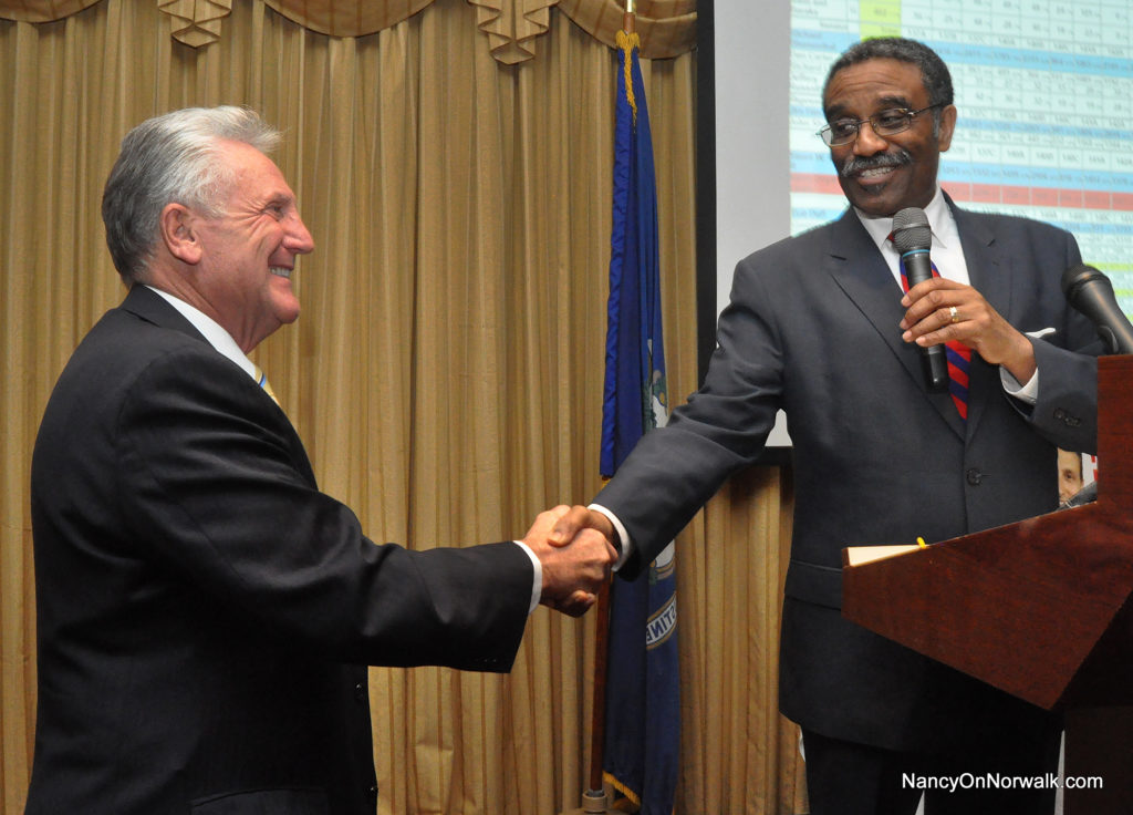 Mayor Harry Rilling, left, congratulates