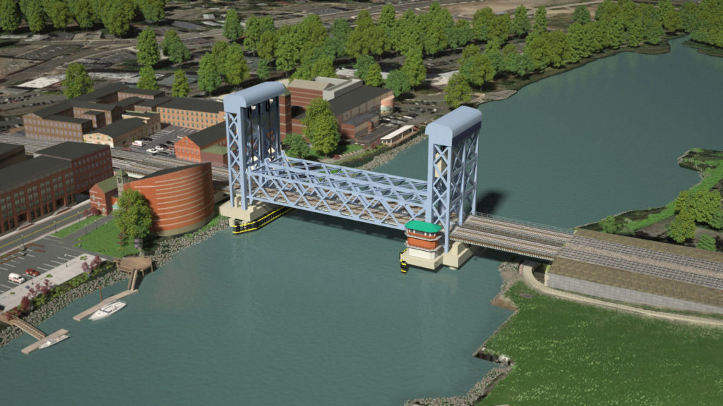The Connecticut Department of Tranportation's preferred choice of design for a new Walk Bridge. Norwalk would prefer something more iconic. (Courtesy ConnDOT)