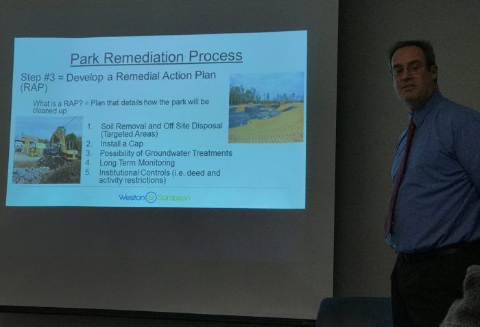 Jeffery Wilson, L.E.P., of Weston & Sampson explains the Ryan Park plan Thursday at the Choice Neighborhood Initiative office on Water Street.