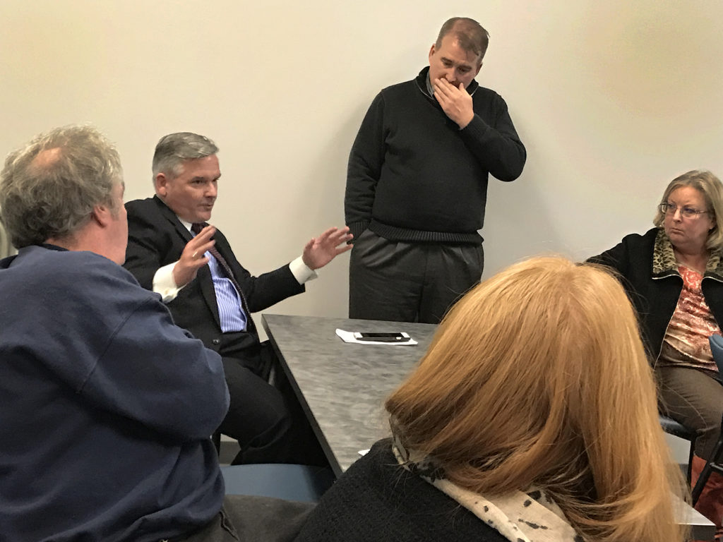 From left. Rick Reardon, Redevelopment Agency Director Tim Sheehan,  Malcolm Beeler of Weston & Sampson and Diane Cece discuss Ryan Park on Wednesday.