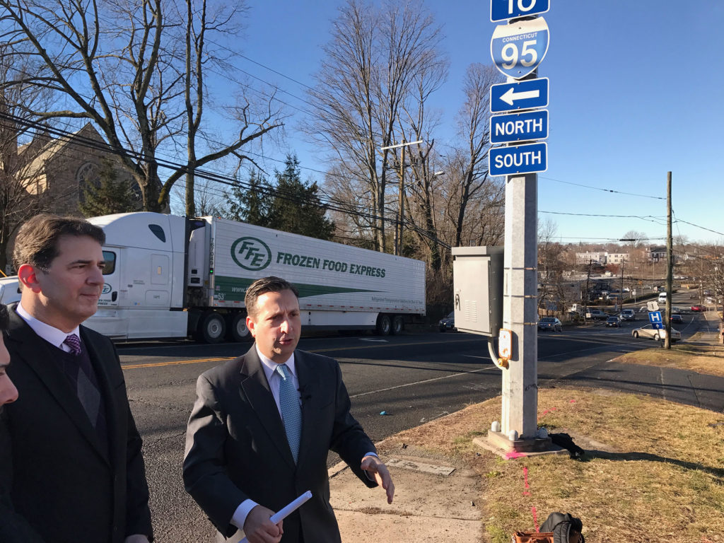 State Sen. Bob Duff (D-25), right, leads a Thursday morning press conference at the intersection of Westport Avenue/North Avenue and East Avenue, with State Rep. Chris Perone (D-137) at his side.