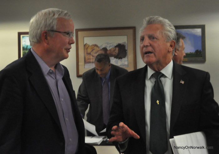 Norwalk Board of Education Chairman Mike Lyons, left, and Mayor Harry Rilling said Sunday that a lobbyist might be a good idea. (Archive photo)