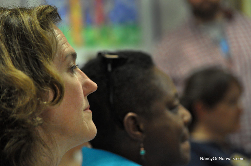 Norwalk Federation of Teachers President Mary Yordon, left, attends a Board of Education meeting in June. (File photo)