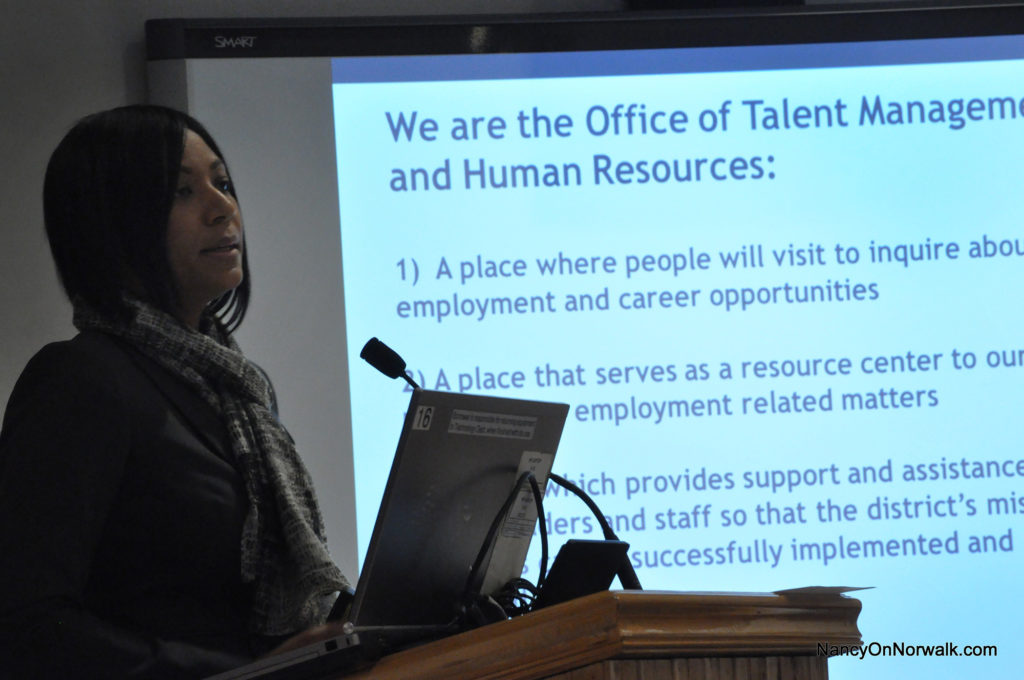 Norwalk Public Schools Chief Talent Officer Cherese Chery speaks to the Board of Education last week.