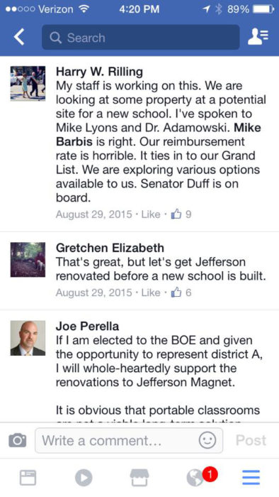 "A 2015 Facebook thread posted Monday on the FB group, ""Norwalk Parents for Education."" Rilling, in 2015, said confidentially that he was looking into the old Armory site on New Canaan Avenue. That did not work out for a number of reasons, he said Monday."