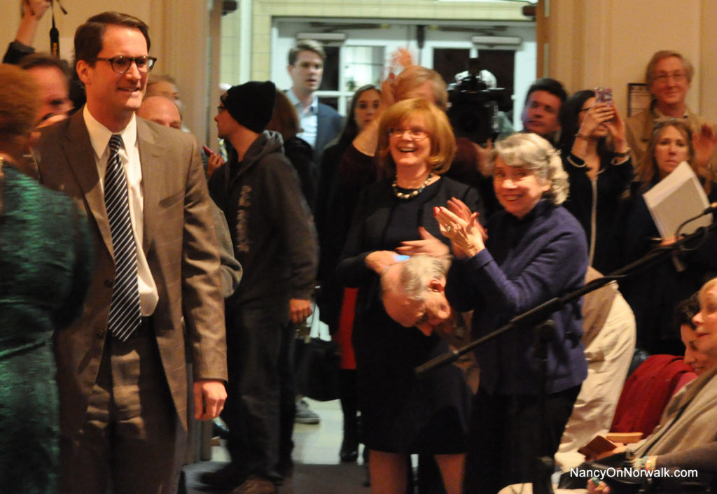 U.S. Rep. Jim Himes (D-Greenwich) enters Norwalk Concert Hall on Tuesday.
