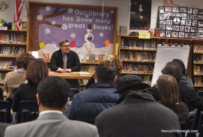 Norwalk Board of Education member Erik Anderson begins his community conversation Thursday in Columbus Magnet School.