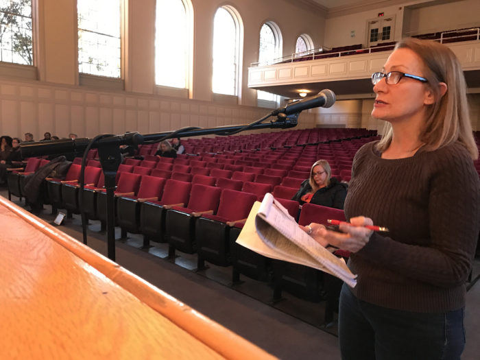 Diane Lauricella offers criticisms of Norwalk's government Wednesday in Concert Hall.