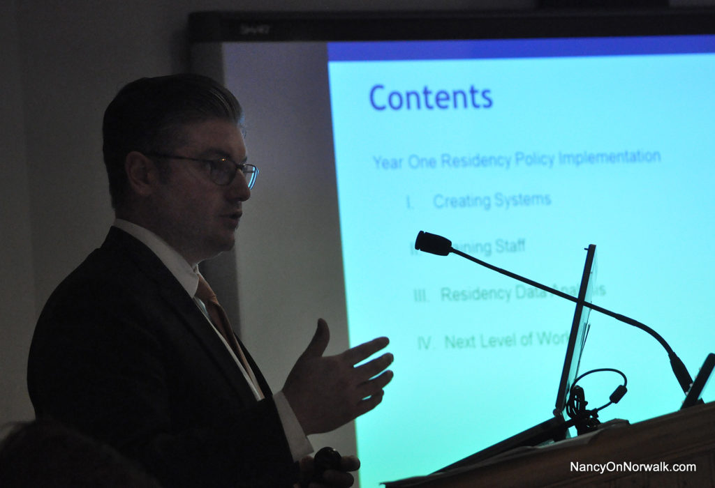 Norwalk Public Schools Chief of School Operations Frank Costanzo delivers an update Tuesday on the new residency policy.