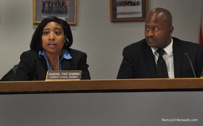 Common Council members Faye Bowman (D-District B) and Travis Simms (D-District B).