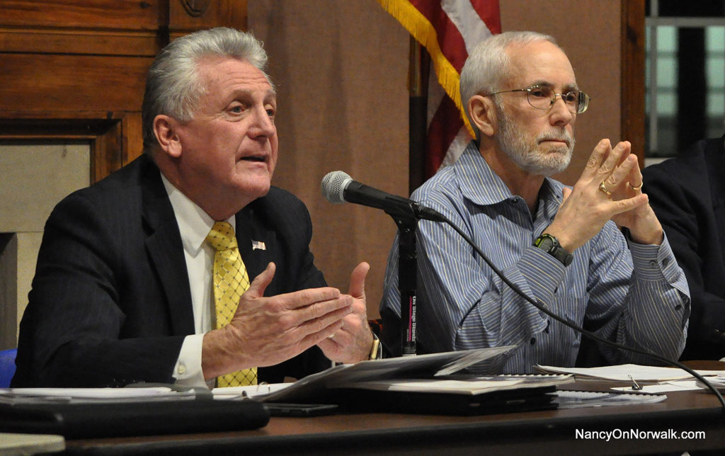 Mayor Harry Rilling expresses support for Norwalk Public Schools during February's joint meeting of the Common Council Finance Committee and the Board of Education, in City Hall. Listening at right is Council Finance Committee Chairman Bruce Kimmel (D-At Large).