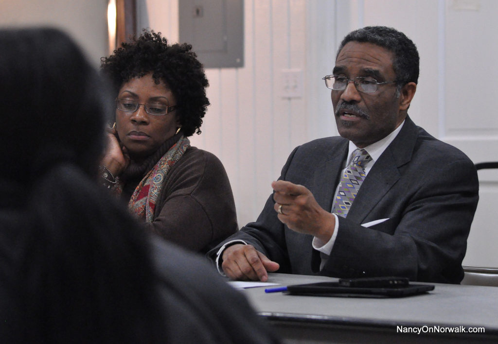 District B Secretary Darlene Young, left, and District B Chairman Bruce Morris, during a discussion Thursday about Board of Education member Erik Anderson.