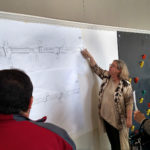 Eastern Norwalk Neighborhood Association (ENNA) leader Diane Cece explains East Avenue options at Saturday's meeting held by ENNA,  the East Norwalk Business Association (ENBA) and the Third Taxing District.