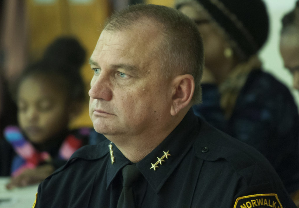 Norwalk Police Chief Thomas Kulhawik attends a NAACP Norwalk Branch event in January. (File photo)