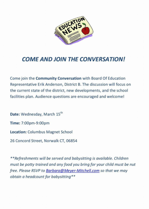 A flier for Erik Anderson's community conversation, rescheduled to March 15 due to the expected snowstorm.