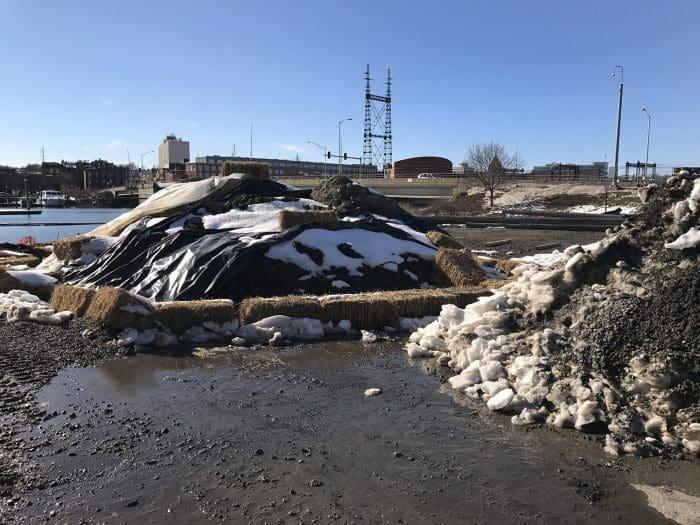 The sediment pile at Veterans Park.