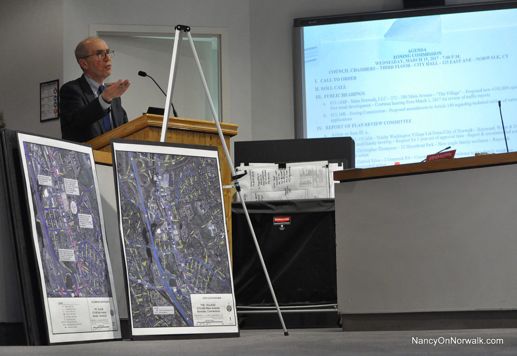 Attorney Joel Green addresses the Norwalk Zoning Commission on Wednesday in City Hall.